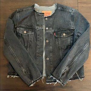 Levi's Black distressed denim jacket